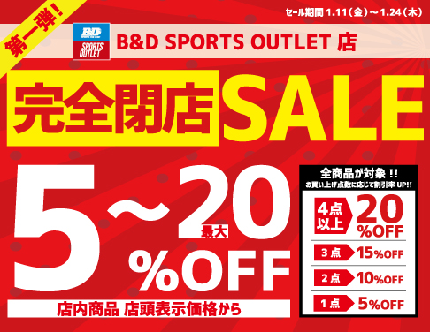 SPORTS OUTLET店閉店セール